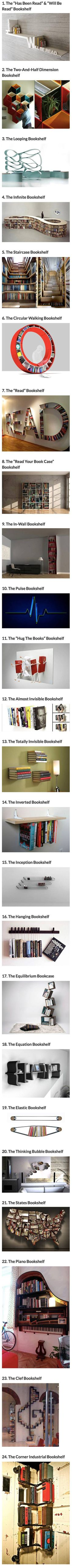 We have rounded up some cool and creative bookshelves that geeks would love. << I love the infinity and staircase bookshelves! I would want the staircase and invisible shelves. Creative Bookshelves, Bookshelf Design, Bookshelf Ideas, Bookshelf Styling, Floating Bookshelves, Decorating Bookshelves, Desk Ideas, Furniture Ideas, Ideias Diy