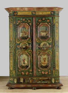 Bavaria or Tyrol, wardrobe of Maria Hirner, painted spruce and lime tree wood, 1840.
