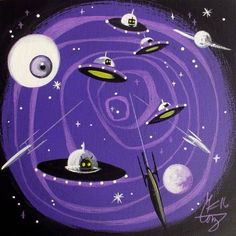 EL GATO GOMEZ PAINTING RETRO 1950'S ATOMIC PULP SPACE SCI-FI ROBOT FLYING SAUCER #Modernism