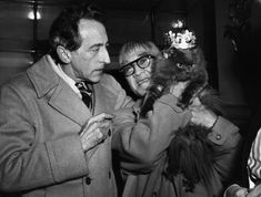 """Jean Cocteau and Foujita with Cat Show Winner, Paris Nov. 3, 1950 -nd orig. caption: An international cat show, sponsored by the """"Cat Friends"""" Club of Paris, is now taking place at the Hotel Rothschild in Paris. Here, Karoun, a blue Persian, is the """"King of the Cats"""" and being admired by the artist Foujita (right) and filmmaker Jean Cocteau (left)."""