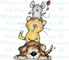 Dog, Cat & Mouse - Dogs - Animals - Rubber Stamps - Shop