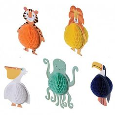 Colourful Creatures Honeycomb Decorations (set of 5)