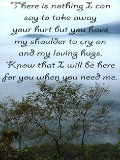 There is nothing I can say to take away your hurt but you have my shoulder to cry on and my loving hugs. Know that I will b here for you when you need me