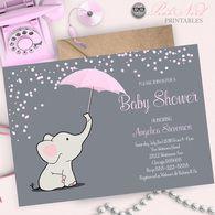 Pink elephant baby shower invitation elephant holding umbrella invitation