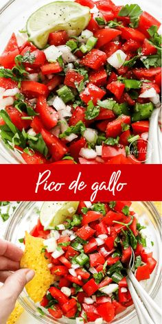 This pico de gallo makes a great dip, topping or sauce that is delicious on any Mexican or TexMex dish you can imagine. Gluten Free Appetizers, Easy Appetizer Recipes, Healthy Appetizers, Tasty Dishes, Side Dishes, Mexican Food Recipes, Ethnic Recipes, Potato Skins, Healthy Cooking