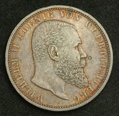 Coins of Germany Wurttemberg 5 Mark Silver Coin of 1908, King Wilhelm II of…