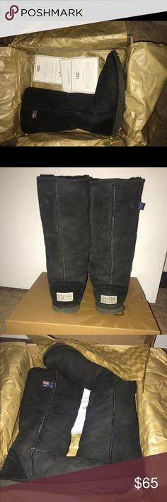 Ugg Australia 🇦🇺 Boots size 8 Women's Classic Tall Boots in Black. These boots are from Ugg Australia they were purchased in Australia 🇦🇺 they are a size 8 with black pretreated twin-face and black suede. With black sheep fleece interior 🐑 light tread wear on the bottom of boots as shown. These boots come in their box 📦 with their packaging. Have been previously worn. UGG Shoes