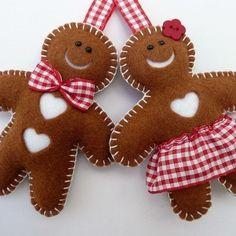 Mr & Mrs Gingerbread Felt Decorations
