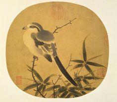 Bamboo and Shrike Li Anzhong (fl. 1119-1162), Song dynasty Album leaf, ink and colors on silk, 25.4 x 26.9 cm.  宋 李安忠 竹鳩