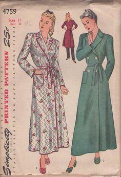 3268023315 Simplicity 4759 Vintage 40 s Sewing Pattern GRAND WW2 Era Wrap Around  Hostess House Coat