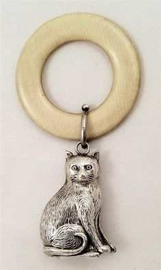 ANTIQUE HALLMARKED STERLING SILVER CAT BABY RATTLE WITH BELL - 1913