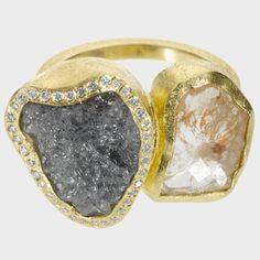 trdr575 | 18ky gold, rose cut diamond(3.19ctw), raw diamond(8.81ctw), white brilliant cut diamonds(.148ctw)