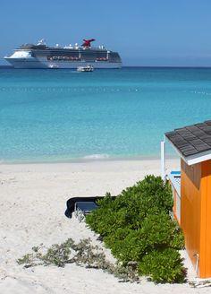 The beach of Half Moon Cay in the Bahamas