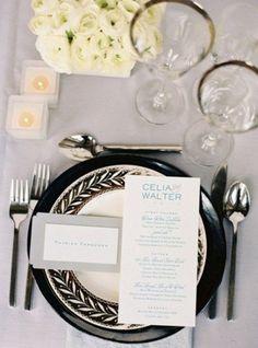 Carte prenom assiette noir et blanc