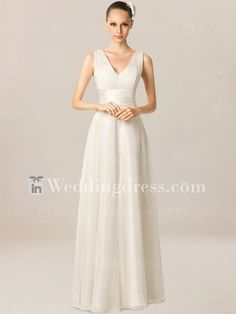 Simple Beach Wedding Dress with V-Neck. Re-pin if you like. Via Inweddingdress.com #weddingdresses