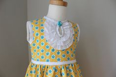 Girls Easter Dress in Yellow  Sizes 12-18m 2t 3t by pitpatwaddlepat, $52.00