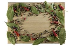 kitchen cutting board scattered spices in the form of a frame