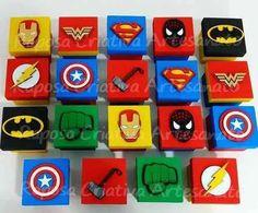 10 lembrancinhas caixa mdf herois vingadores liga da justiça