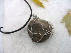 Petoskey Stone Wire Wrapped Pendant by heyyousguys on Etsy, $12.00