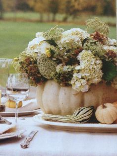 hydrangeas and queen Annes lace in a white pumpkin