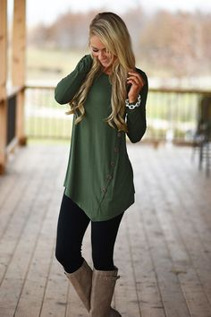 Olive Button Top – The Pulse Boutique