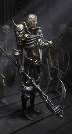 m Fighter Eldritch Knight LE Plate Armor Scythe Skeleton Minions Wilderness Keep story ArtStation Pale Knight by Daria Rashev lg Fantasy Warrior, Fantasy Weapons, Death Knight, Undead Knight, Character Concept, Character Art, Concept Art, Dnd Characters, Fantasy Characters