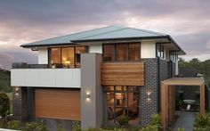 Explore over 60 modern home designs & house plans from Rawson Homes. Modern House Facades, Modern House Design, Facade Design, Architecture Design, Chinese Architecture, Futuristic Architecture, Rawson Homes, Double Storey House, Storey Homes