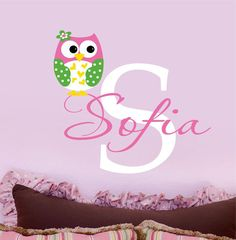 Owl Decals Name Wall Decal Childrens Vinyl Wall by LucyLews