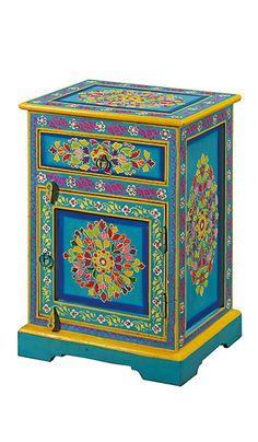 Handpainted indian bedside cabinet > Bedside & Small Cabinets > Furniture > Namaste Home Page > Namaste-UK Ltd