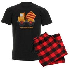 Cafepress Personalized Red Cement Truck Men's Dark Pajamas, Size: XL