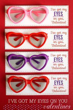 Glasses Valentines, Valentine's for kids, handmade valentines, diy valentines, non-candy valentines