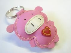 Leather Keychain  Polly the Pig Leather Charm  by leatherprince, $18.90