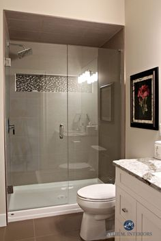 Small bathroom with walk in shower. Glass doors, fibreglass base, mosaic tile niche and large porcelain wall tiles. Sherwin Williams Worldly Gray. Kylie M Interior