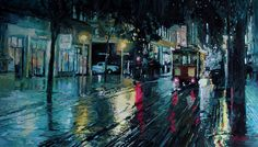 Buy Original Art by Seth Couture | acrylic painting | Rainy Night on Powell Street at UGallery