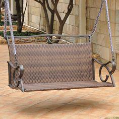 Valencia Resin Wicker & Steel Loveseat Porch Swing - Piedmont Home Furnishings