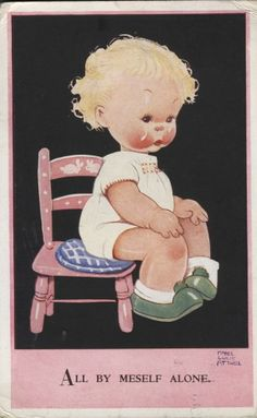 """MABEL LUCIE ATTWELL vintage old postcard """"All by meself alone"""" 3691"""