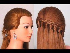Easy every day hairstyle tutorial - Waterfall knot braid. Easy Everyday Hairstyles, Fancy Hairstyles, Braided Hairstyles, Medium Long Hair, Medium Hair Styles, Long Hair Styles, Hairstyle Tutorial, Great Hair, Hair Videos