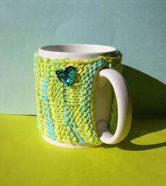 Knitted Mug Cozy  Blue Green Yellow Checkered by KatysKnitKnacks, $7.00