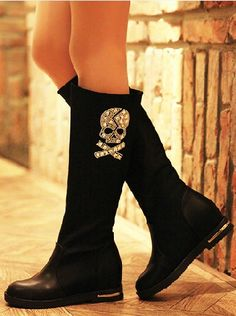Skull women boots, if they were embroidered rather than bedazzled, I would so but these