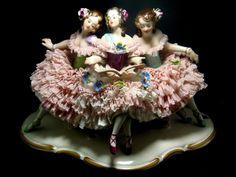 Volkstedt German Dresden Porcelain Lace Group of 3 Girls | eBay