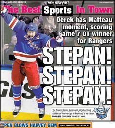 Stepan, Stepan, Stepan - The great Matteau Moment! Hockey Highlights, Cup Games, Rangers Hockey, Hockey Baby, Game 7, Hockey Games, New York Post, New York Rangers, Good Ol