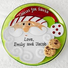 Customized Cookies for Santa Glass Plate -- PersonalCreations.com