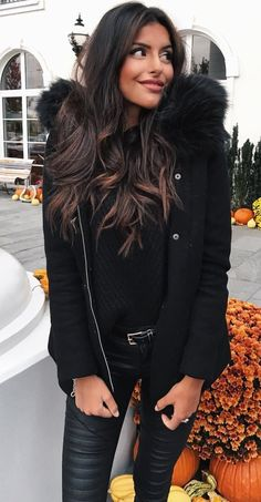#fall #outfits women's black faux fur hooded zip-up jacket