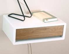 Retro Style Mid Century Modern Nightstand with Door, Floating Wall Mount Nightstand, Side Table, Bedside Table