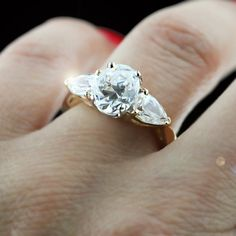 Jessica Three Stone Engagement Ring ~ your choice of center stone with pear cut side stones.