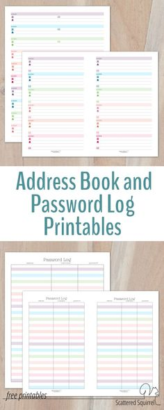 Colourful Address Book and Password Log Printables Binder - free pass template