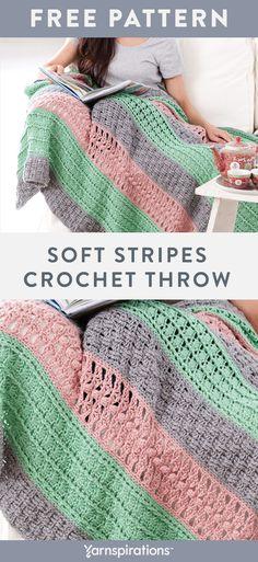 Crochet Afghans, Striped Crochet Blanket, Easy Crochet Blanket, Afghan Crochet Patterns, Crochet Yarn, Crochet Stitches, Free Crochet, Crochet Throws, Crochet Mandala