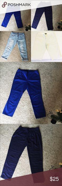 Sale! Bundle of four club Monaco beige shorts size 4. Five plus water wash Ankle jeans. Size S. uniqlo light blue ankle pants size S. navy pants size S Pants
