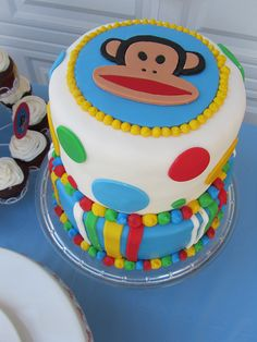 This colorful cake is Paul Frank-ilicious! Yum!