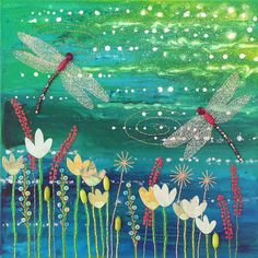Limited edition giclee print on paper from my mixed media original 'Dragonfly Pool' by JoGrundyArtist
